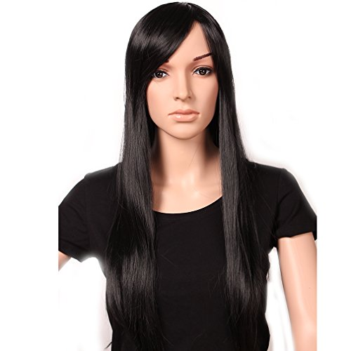 Heat Resistant Synthetic Wig Japanese Kanekalon Fiber 13 Colors Full Wig with Bangs Long Curly Wavy Wave 28'' / 149cm Wig for Women Girls Lady Fashion and Beauty (Straight-28''(149CM), dark black)
