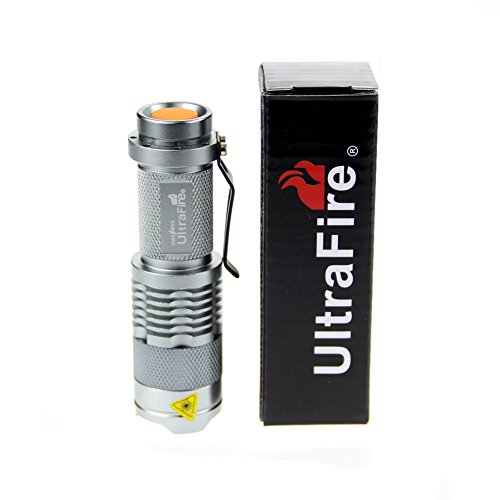 UltraFire® WF-68B 7W 300LM Mini CREE LED Flashlight Torch Adjustable Focus Zoom Light Lamp -Silver