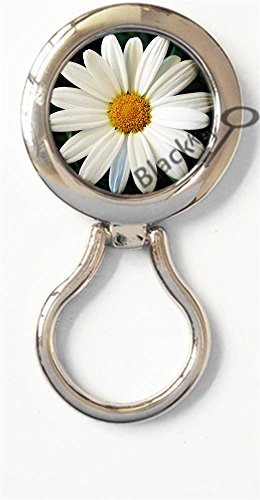 (BlackKey White Daisy Flower Daisies Blossom Magnetic Metal Eyeglass Badge Holder, Eye Glass Holding Brooch -99)