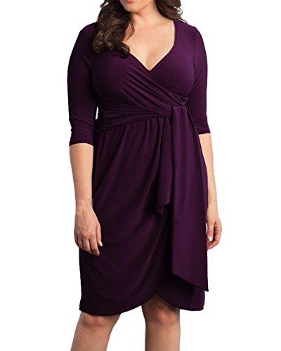 ZANZEA Mujeres Mini Vestido de Noche Cuello V Dobladillo irregular Slim Maxi gran Tamaño Púrpura oscura