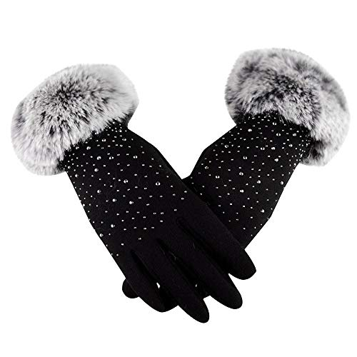 NUWFOR Adult Women Men Winter Hand Wrist Warmer Flip Cover Fingerless Gloves (Black,Free) ()