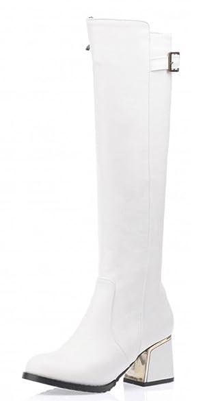 Aisun Women's Fashion Chunky Mid Heel Knee High Boots White 8 B(M) US