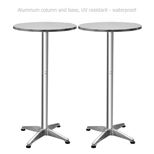 Folding Aluminium Bar Table Height Adjustable Commercial Residential Waterproof UV Resistant Home Office Kitchen Indoor Outdoor Furniture - Set of 2#1382a (Outdoor Sets Furniture Australia)