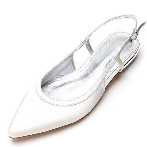 L@YC Damen Hochzeitsschuhe Satin Silk Sandalen Geschlossene Zehe Gemacht Gericht Schuhgröße Elfenbein/5047-19 Ivory