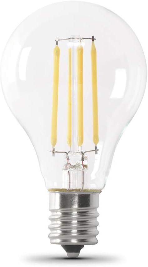 "Feit Electric BPA1575N/827/FIL/2 75 Watt Equivalent 800 Lumen Dimmable Intermediate A15 LED Filament Light Bulb E17 Base, 3.2""H x 1.85""D, 2700K (Soft White), 2 Piece"