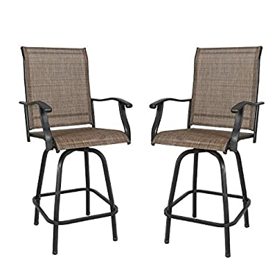 Ulax furniture Outdoor 2-Piece Swivel Bar Stools High Patio Chairs with Sling Seat