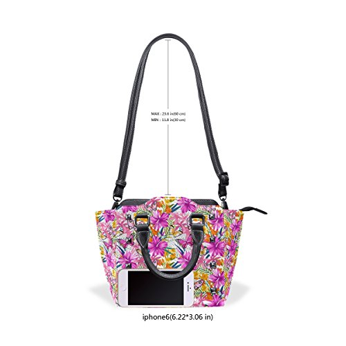 Tote Top Handle Crossbody And Butterflies Middle Tropical Coosun Leather Pu Bag Leaves Multicolor Bag Bags Shoulder Women Flowers 6HAxP7v