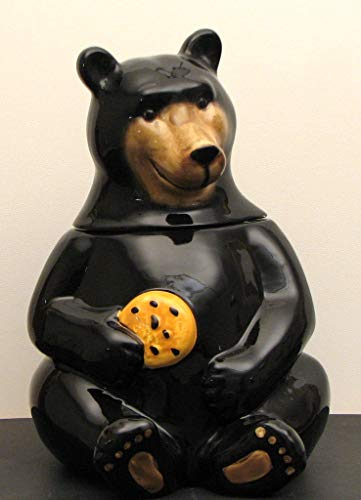 (Cookie Jar Wide Mouth Black Bear Figurine Home Kitchen Decor Candy Food Treats Stash Large Grizzly Ceramic Statue Outdoor Indoor Decoration)