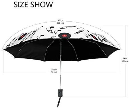 Akiraki 折りたたみ傘 レディース 軽量 ワンタッチ 自動開閉 メンズ 日傘 UVカット 遮光 音符 可愛い かわいい 白 ホワイト 折り畳み傘 晴雨兼用 断熱 耐強風 雨傘 傘 撥水加工 紫外線対策 収納ポーチ付き