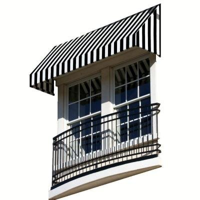 25' New Yorker Window (AWNTECH 25 ft. New Yorker Window/Entry Awning (18 in. H x 36 in. D) in Black / White Stripe)