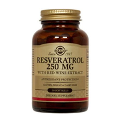 Resveratrol with Red Wine Extract, 250 mg, 30 S Gels by Solgar (Pack of 3) by Solgar