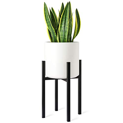 Mkono Plant Stand Mid Century Modern Tall Flower Pot Stands Indoor Outdoor Metal Potted Plant Holder, Plants Display Rack Fits Up to 10 Inch Planter(Planter Not Included) (Black Gold Snake Plant)