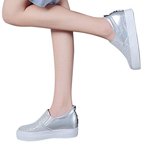 Chers Temps Femmes Casual Paillettes Chaussures À Semelle Épaisse Blanc