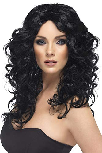 Smiffys Women's Long and Curly Black Wig, One Size, Glamor Wig, -