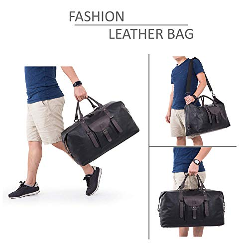 Zeroway Travel Duffel Bag with Shoe Pouch PU leather Carry on Bag Weekender Overnight Bag for Men Women Black