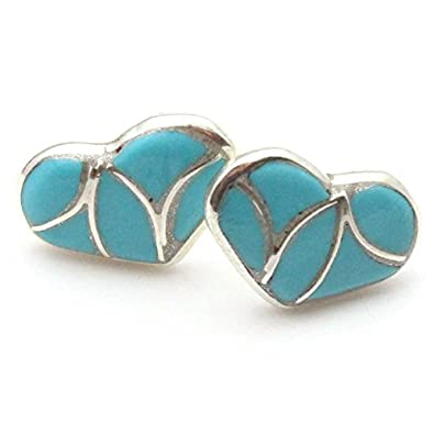 c690d93c9 Image Unavailable. Image not available for. Color: Zuni Channel Inlay Turquoise  Post Heart Earring ...