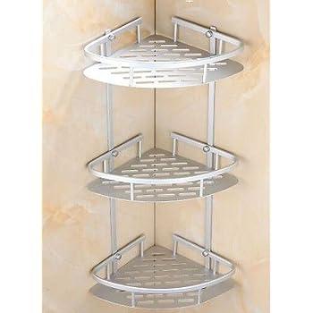 Amazon.com: 3 Layer Triangular Shower Shelf Bathroom Corner bath ...