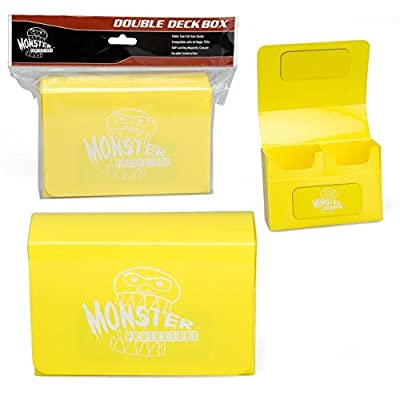 Monster Protectors Double Deck Box- Magnetic Locking Dual Trading Card Game Storage Case w Removable Compartments- Holds 150 Cards- Fits All Standard and Smaller Size MTG and TCGs - Yellow: Toys & Games