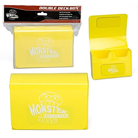 Monster Protectors Trading Card Double Deck Box with Magnetic Closure - Yellow (Fits Yugioh, Pokemon, Magic the Gathering - Double Deck Card Box