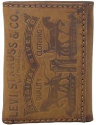Levi's Men's Levis Trifold Wallet男士100%真皮钱包Cognac折后$13.99