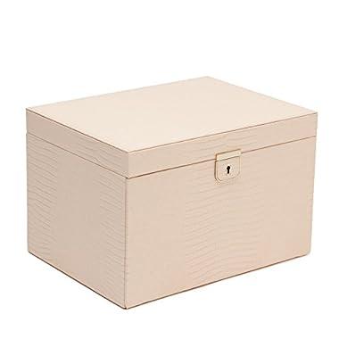 Wolf Designs Palermo Large Leather Jewelry Box, Blush