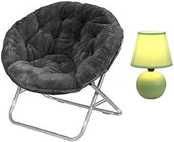 Urban Shop Faux Fur Saucer Chair with Green Lamp Adult, Aqua Wind