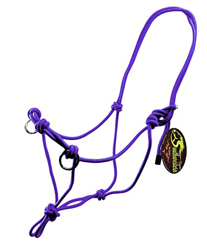 - Southwestern Equine Side Pull Rope Halters with Nickle Plated Rings (Horse, Purple)