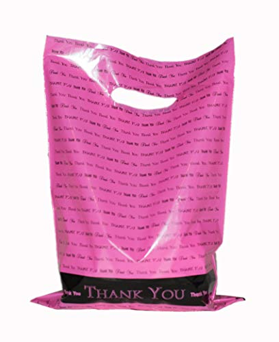 "Merchandise Thank You Bags: ACME Bag Bros 100 Small hot Pink Glossy Retail""Thank You"" Merchandise Bags with Handles 9"" x 12"""