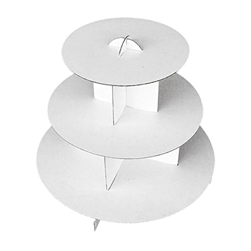 Deco4Fun 3-Tier White Round Cardboard Cupcake Stand Dessert Tower Treat Stacked Pastry Serving Platter Food Display (Pkg of (Cardboard Cupcake Stand)