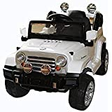 Brunte White Battery Operated Ride On Jeep With Open Door With Built In Speaker