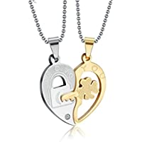 Aeici His & Hers Couple Pendant Stainless Steel Matching Set Necklaces for Valentine's Day