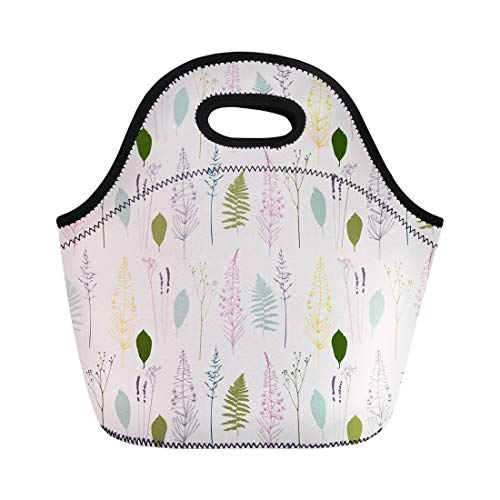 Semtomn Neoprene Lunch Tote Bag Floral Fireweed Flowers Dill Fennel Fern Leaves Lavender Reusable Cooler Bags Insulated Thermal Picnic Handbag for Travel,School,Outdoors, Work
