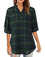 Plaid Shirt,Autumn Women Plaid Tartan Shirt V-Neck Buttons Pullover Cuffed Long Sleeve Loose Casual Tunic Shirt Blouse