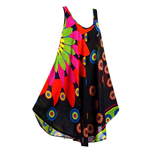 FONMA Women Summer Round Neck Sleeveless Boho Dress Printed Beach Dress Black