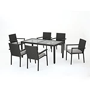 San Simeon Outdoor 7 Piece Grey Wicker Rectangular Dining Set with Silver Water Resistant Cushi