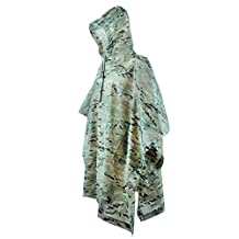 LOOGU Military Camouflage Waterproof Rain Poncho for Adults