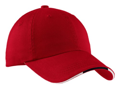 Port Authority Signature - Sandwich Bill Cap with Striped Closure Red/ Classic Navy/ White-OSFA ()