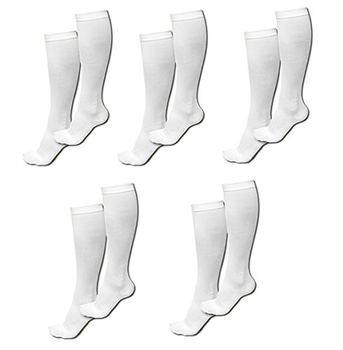 - ASRocky Compression Socks (20-30mmHg) for Men & Women - Best Graduated Athletic Fit Stockings for Running, Medical, Athletic, Edema, Diabetic (White - 5 Pair, Large/X-Large)