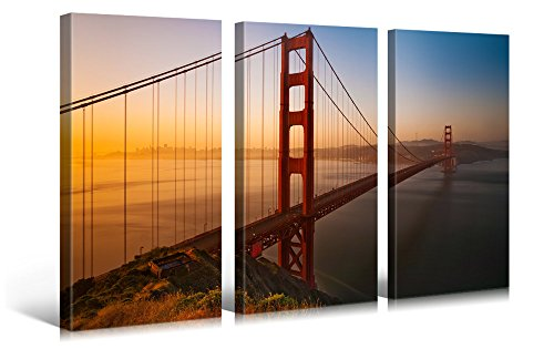(Very artistic Large Canvas Print Wall Art - Golden GATE Bridge - 48x30 in (3 pcs) San Francisco Cityscape Canvas Picture Stretched On Wooden Frame - Giclee Canvas Printing - Hanging Wall Deco Picture)