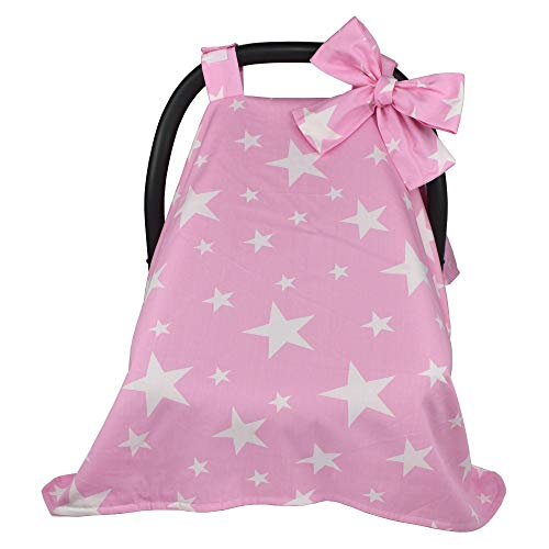 Cotton Baby Carseat Canopy, Infant Carrier Cover, Safety Basket Case, Breathable Stroller Sunshade Covers with Big Bow (Dark Pink Star) (Toddler Cover Floral Seat Car)