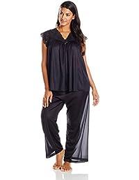 Women's Plus-Size Silhouette Short Cap Sleeve Pajama Set