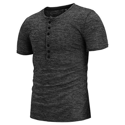 Winsummer Mens Casual Slim Fit Basic Henley Short Sleeve T-Shirt Lightweight V Neck Muscle Tops Black by Winsummer (Image #2)