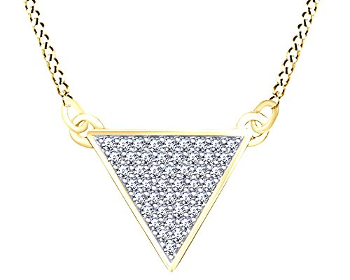 (Round Cut White Natural Diamond (1/6 Cttw) Triangle Pendant Necklace In 14K Yellow Gold Over Sterling Silver)