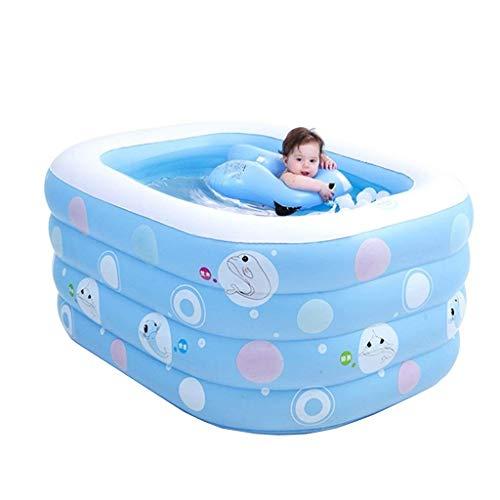 HOMESROP Piscina de remo inflable azul 135 * 105 * 58 cm, deslizamiento suave, cómodo, plegable, portátil, viaje…