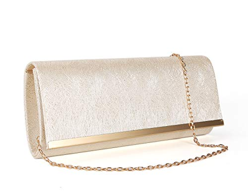 Gesu Women Sparkling Glitter Evening Bag Wedding Party Prom Purse Shoulder Bag. (Light gold)