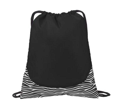 Port Authority Patterned Cinch Pack, Black Zebra