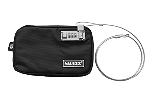 Vaultz Locking Field Gear Pouch with Tether, Small, 5 x 8 Inches, Black (VZ00739) - Locking Security Bags