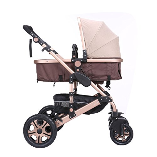 C&AHOME-Adjustable Anti-Shock High View Stroller Baby Carriage Pushchair Pram (Gold)