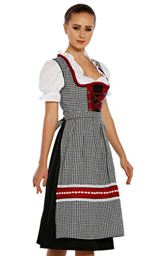 Authentic bavarian Trachten Dirndl dress 3-pieces with apron and blouse (4)