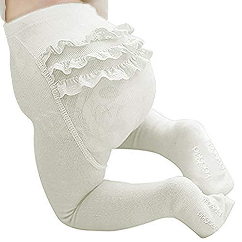 Baby Girls Embroidery Ruffle Tights Toddlers Cotton Pantyhose Footed Stocking Leggings White ()